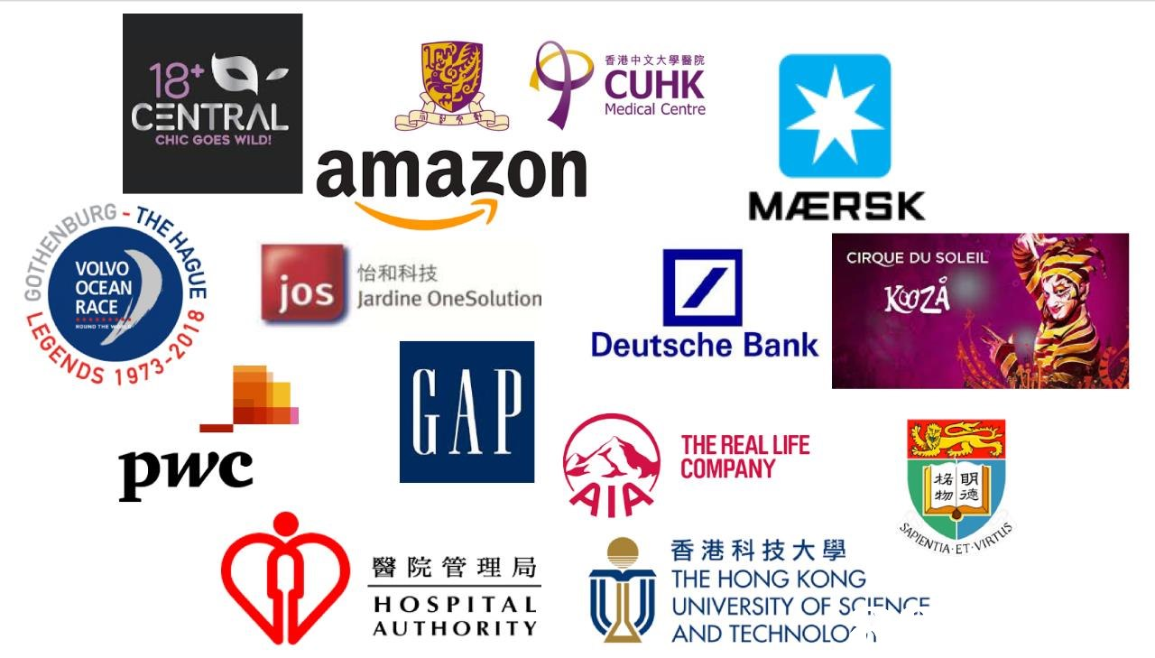 18 CENTRAL 香港中文大學醫院 CUHK Medical Centre CHIC GOES WILD! amazon QURG-T MAERSK CIRQUE DU SOLEIL VOLVO OCEAN RACE Jos 怡和科技 Jardine OneSolution Deutsche Bank s 1913 pwc THE REAL LIFE COMPANY 柺 明 物ラ憑 香港科技大學 ET VIR 醫院管理局 THE HONG KONG H OSPITAL AUTHORITY UNIVERSITY OF S(HENCE AND TECHNOLO,门  text,product,font,logo,product