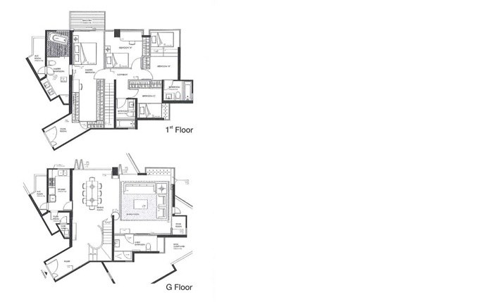 1 Floor G Floor  floor plan,plan,text,drawing,architecture