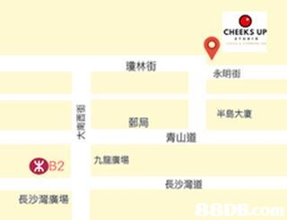CHEEKS UP 瓊林街 永明衒 半島大廈 郵局 青山道 長沙灣道 長沙灣廣場  yellow,text,font,line,material