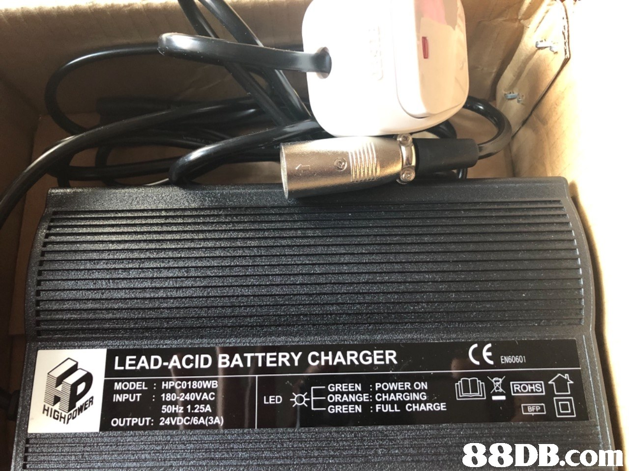 LEAD-ACID BATTERY CHARGER EN60601 MODEL: HPC0180WB INPUT 180-240VAC GREEN: POWER ON ORANGE: CHARGING GREEN: FULL CHARGE ROHS LED 50Hz 1.25A BFP OUTPUT: 24VDC/6A(3A   technology,electronics,motor vehicle,vehicle,electronic device