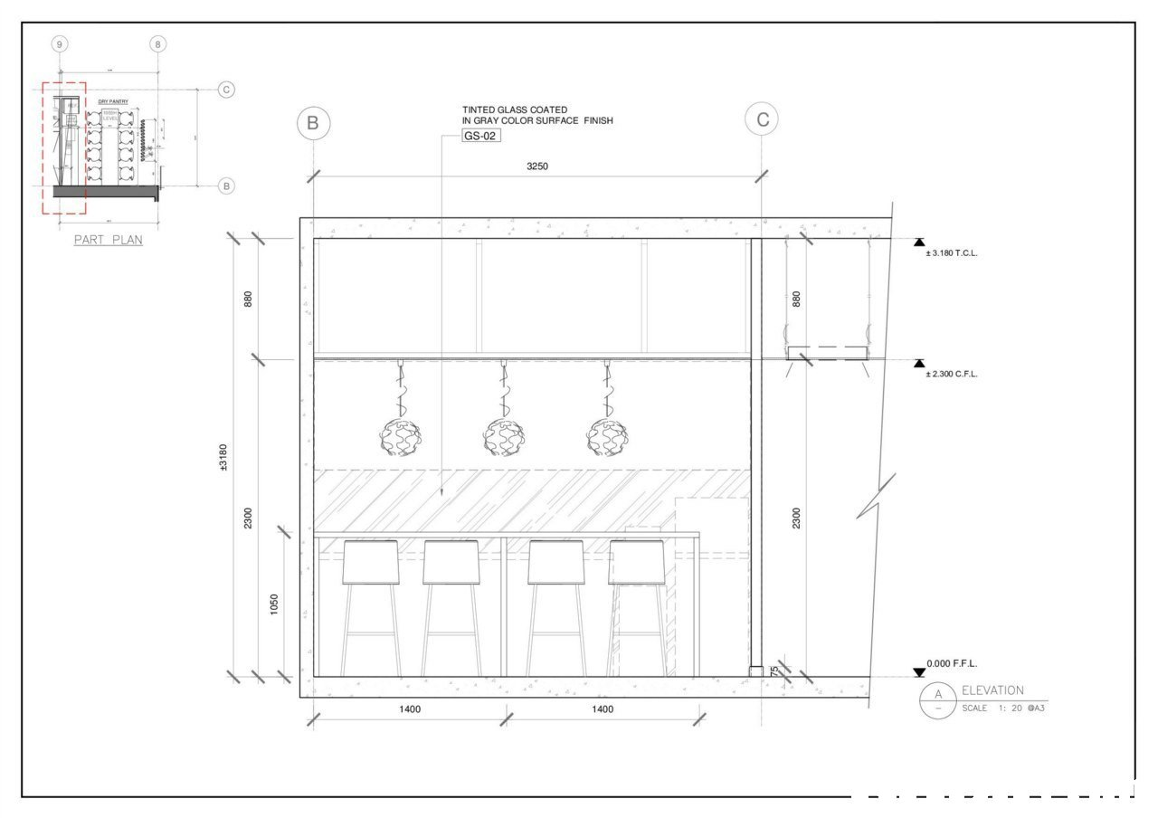 TINTED GLASS COATED IN GRAY COLOR SURFACE FINISH GS-02 3250 PART PLAN ± 3.180 Τ.CL. ± 2.300 CF.L 0.000 F.F.L A ELEVATION 1400 1400 SCALE 1: 20 GA  text,structure,drawing,diagram,line