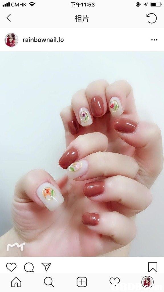 .ill CMHK令 下午11:53 相片 rainbownail.lo  finger,nail,hand,nail care,manicure