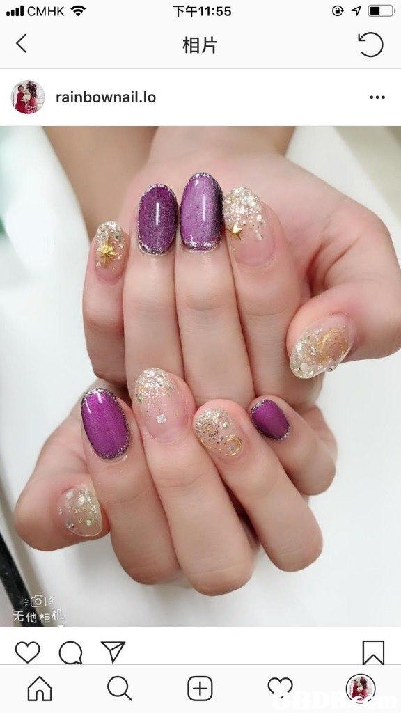 下午11:55 .ill CMHK令 相片 rainbownail.lo 他相  nail,finger,nail care,hand,manicure