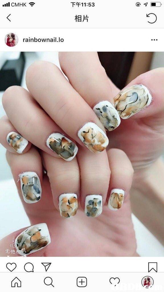 下午11:53 .ill CMHK令 相片 rainbownail.lo 无他  nail,finger,hand,nail care,manicure