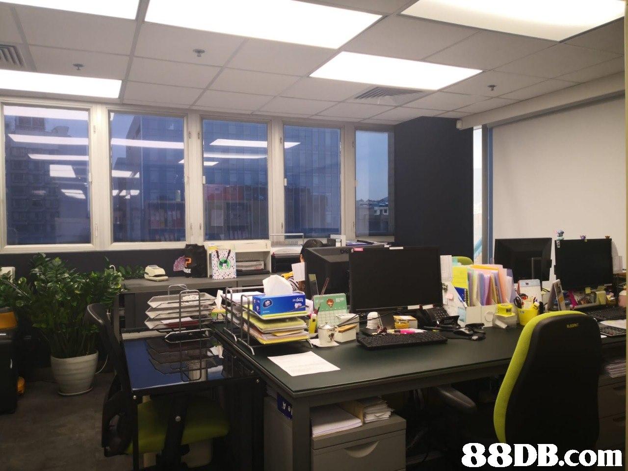 Office,Building,Interior design,Desk,Room