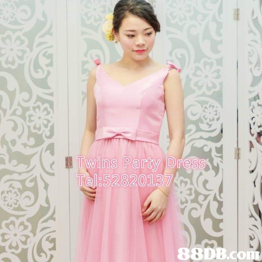 Twins Party Dres Tel:52820137 88DB.cOm  Clothing,Dress,Shoulder,Pink,A-line