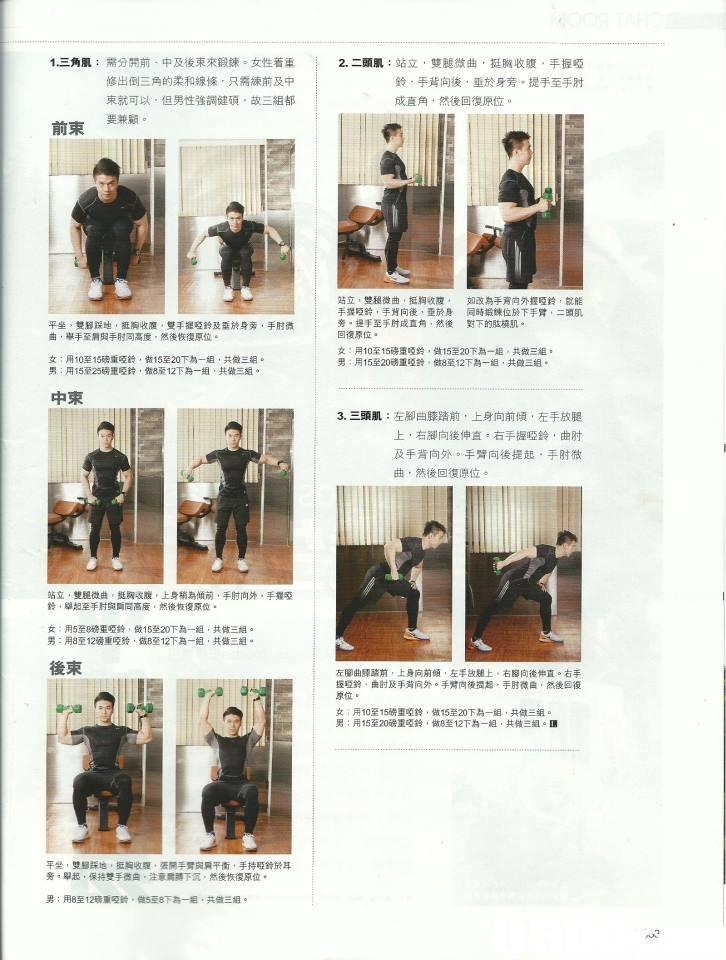 1三角肌: 需分開前,中及後,,鍛鍊。女性着重 修出倒三角的柔和線條,只需練前及中 柬就可以,但男性強調健碩,故三組都 要兼顧。 2,二頭肌:站立,雙腿微曲,挺胸收腹,手握啞 鈴,手背向後,垂於身旁,提手至手肘 成直角,然後回復原位。 前束 站立,雙超微曲,挺胸收腹, 手握啞鈴,手背向後,垂於身 旁 手至手肘成直角,然後 回復原位. 如改為手背向外握啞鈴,就能 同時鍛煉位於下手臂,二頭肌 對下的肱橈肌. 平坐,雙腳踩地,挺胸收腹,雙手握啞鈴及垂挠身旁,手肘微 曲,舉手至肩與手肘同高度,然後恢復原位 女:用10至15磅重啞鈴,做15至20下為一組,共做三組。 男:円15至25磅重啞鈴,做8R12下A-組,共做三 女:用10至15磅重啞鈴,做15至20下為一組,共做三組. 男:用15至20磅亚啞鈴、做8至12下為一組,共 三組. 中束 3、三頭肌:左腳曲膝踏前,上身向前傾,左手放腿 上,右腳向後伸直。右手握啞鈴,曲肘 及手背向外。手臂向後提起,手肘微 曲,然後回復原位。 站立,雙腿微曲,挺胸收腹,上身稍為傾前,手肘向外,手握啞 鈴,舉妲至手肘與脣同高度,然後恢復原位. 女:用5至8磅重啞鈴,做15至20下為一組,共做 男:用8至12磅重啞鈴,做8至12下為一組,共做三組. 後束 左腳曲腖踏前,上身向前傾,左手故麵上。右腳向後伸直。右手 握啞鈴,由肘及手背向外。手臂向後擱超,手肘微,然後回復 原位. 女:用10至15磅堕啞鈴,做15至20下為一組,共做三組. 男:用15至20磅重啞鈴,做8至12下為一組,共做三組 平坐,雙 踩地,抵胸收腹、張房주臂與 平衝,手持gatse耳 旁,舉惩,保持雙手微曲,注 膊下沉,然後恢復原位. 男:用8至12磅重啞鈴。做5至8下為一組,共做三組。  Text,