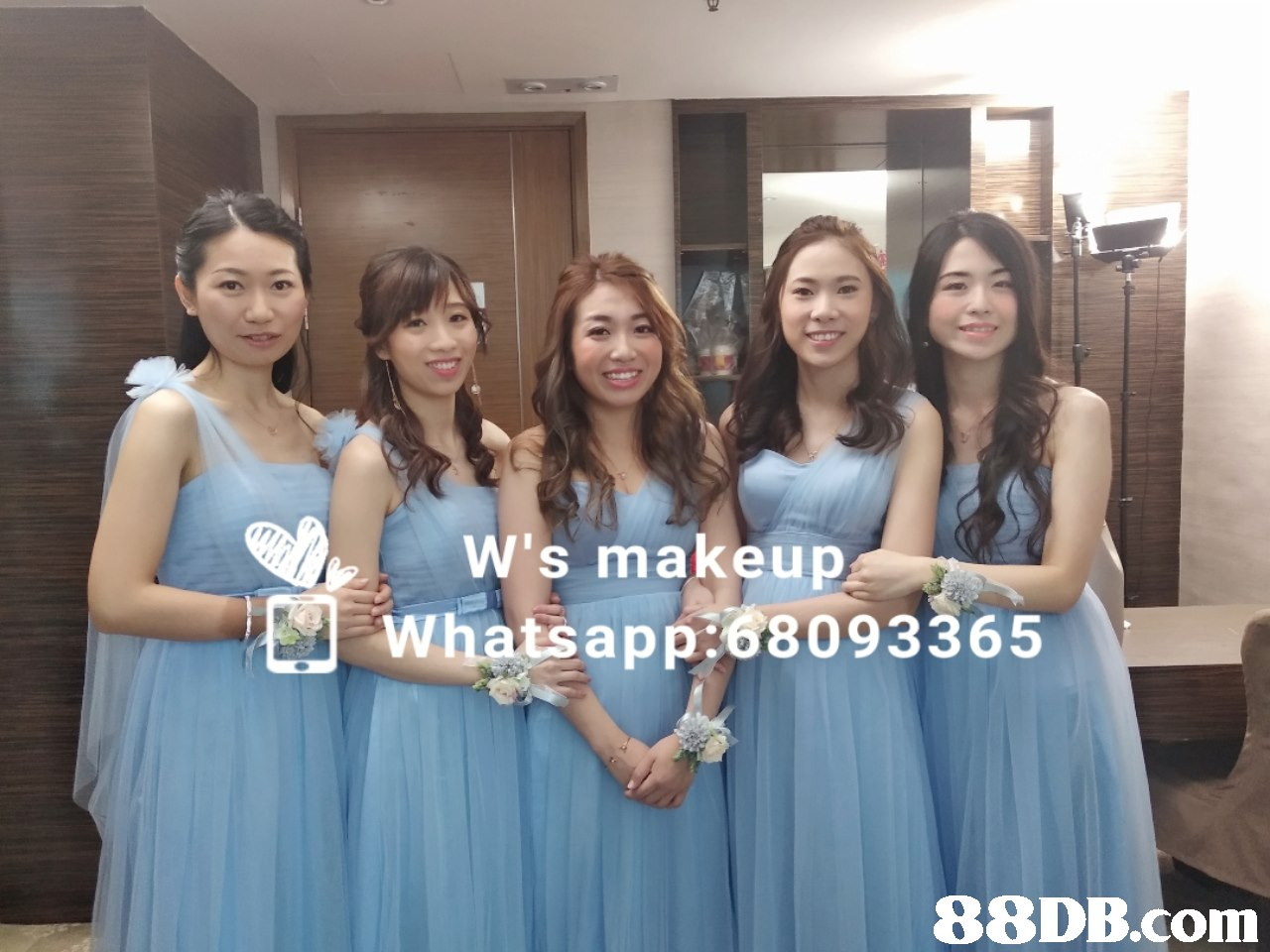 W's makeup Whatsapp:68093365   Dress,Shoulder,Bridesmaid,Event,Joint