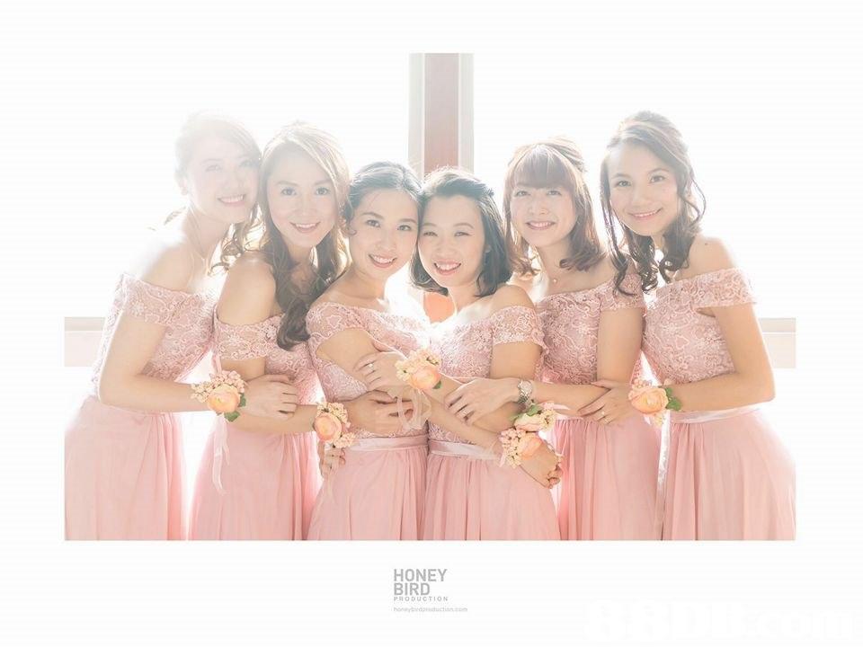 HONEY BIRD PRODUCTION  Bridesmaid,Pink,Photograph,Dress,Peach
