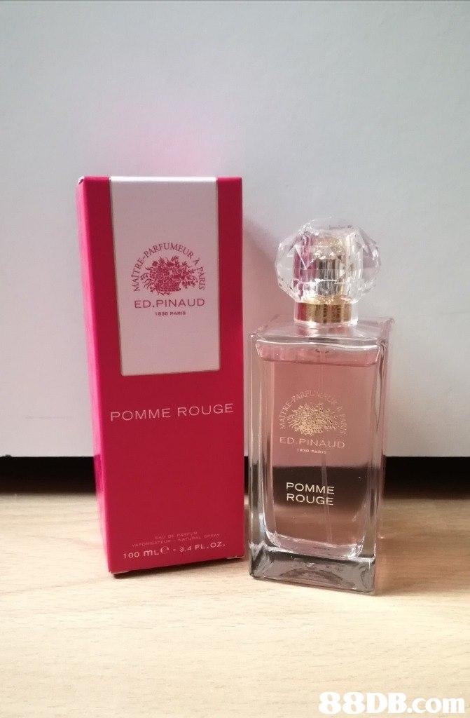 ED.PINAUD 1830 PARIS POMME ROUGE ED PINAU POMME ROUGE 1oo mLe 3.4 FL.oz.   Perfume,Product,Liquid,Glass bottle,Bottle