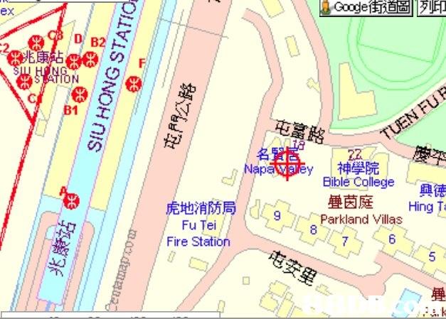 L G oge街道圖|列印 ex D B2 2 E康 88の CDF B1 屯富路 名 神學院 Bible College Na 興德 Hing T 疊茵庭 虎地消防局/Cggap Parkland Villas nd Fu Tei Fire Station 5 疊  Map,Line,
