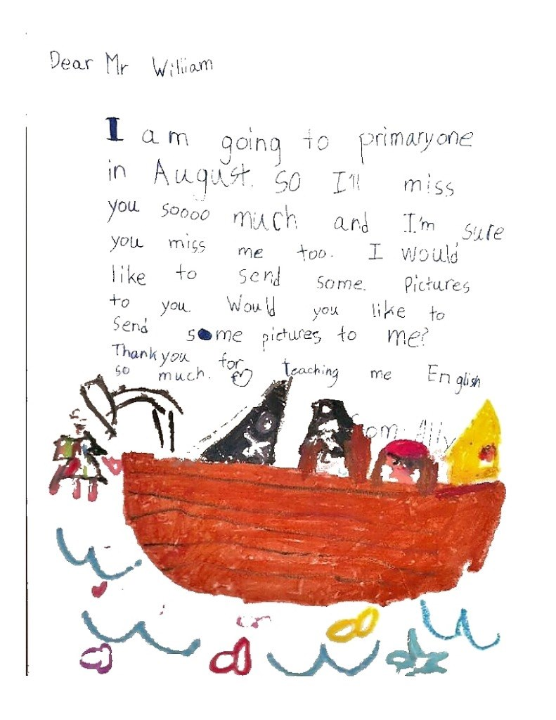 Dear Mr Witiam am qoina 10 primary one ou Soo you mis me oo liketoe Some Pictures to youyox ke to Send sme picures to me ooo much ard I m Sute I would Thank you for me much.  Text,Illustration,Font,