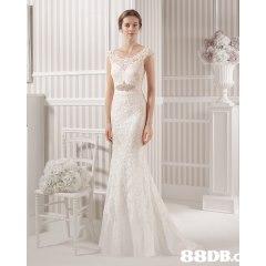 88DB.  Gown,Clothing,Dress,Wedding dress,Shoulder