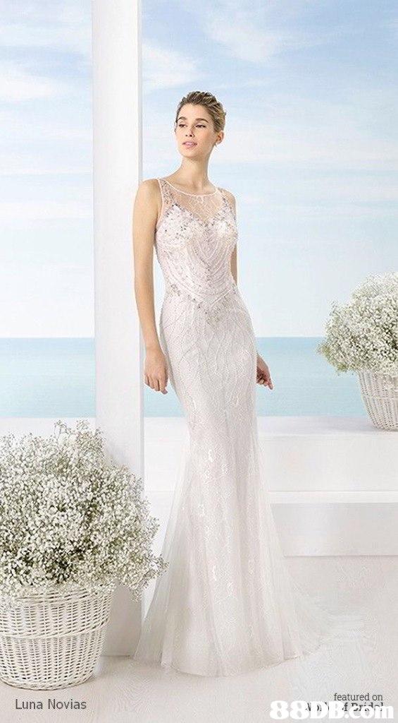 featured on Luna Novias  Gown,Wedding dress,Clothing,Dress,Fashion model