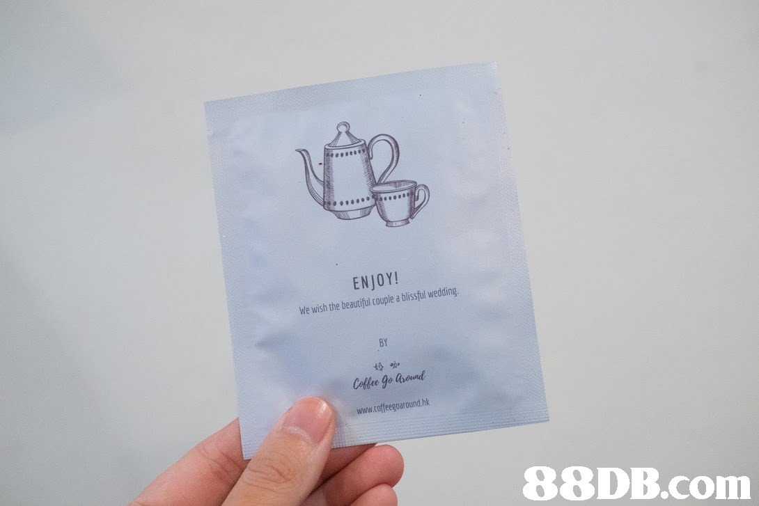 tR ENJOY! We wish the beautiful couple a blssful wedding BY 婚咖 Coffee go laod www.coffeegoaround.hk   Text,Finger,Material property,Font,Hand