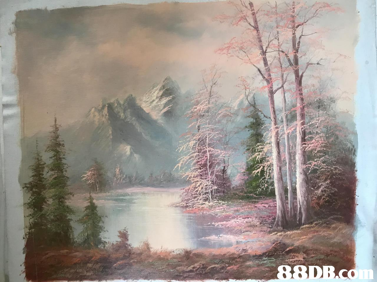 Painting,Natural landscape,Atmospheric phenomenon,Tree,Art