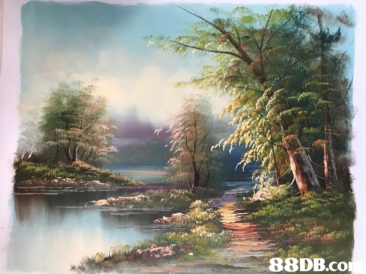 34 88DB.co  Natural landscape,Nature,Painting,Tree,Atmospheric phenomenon