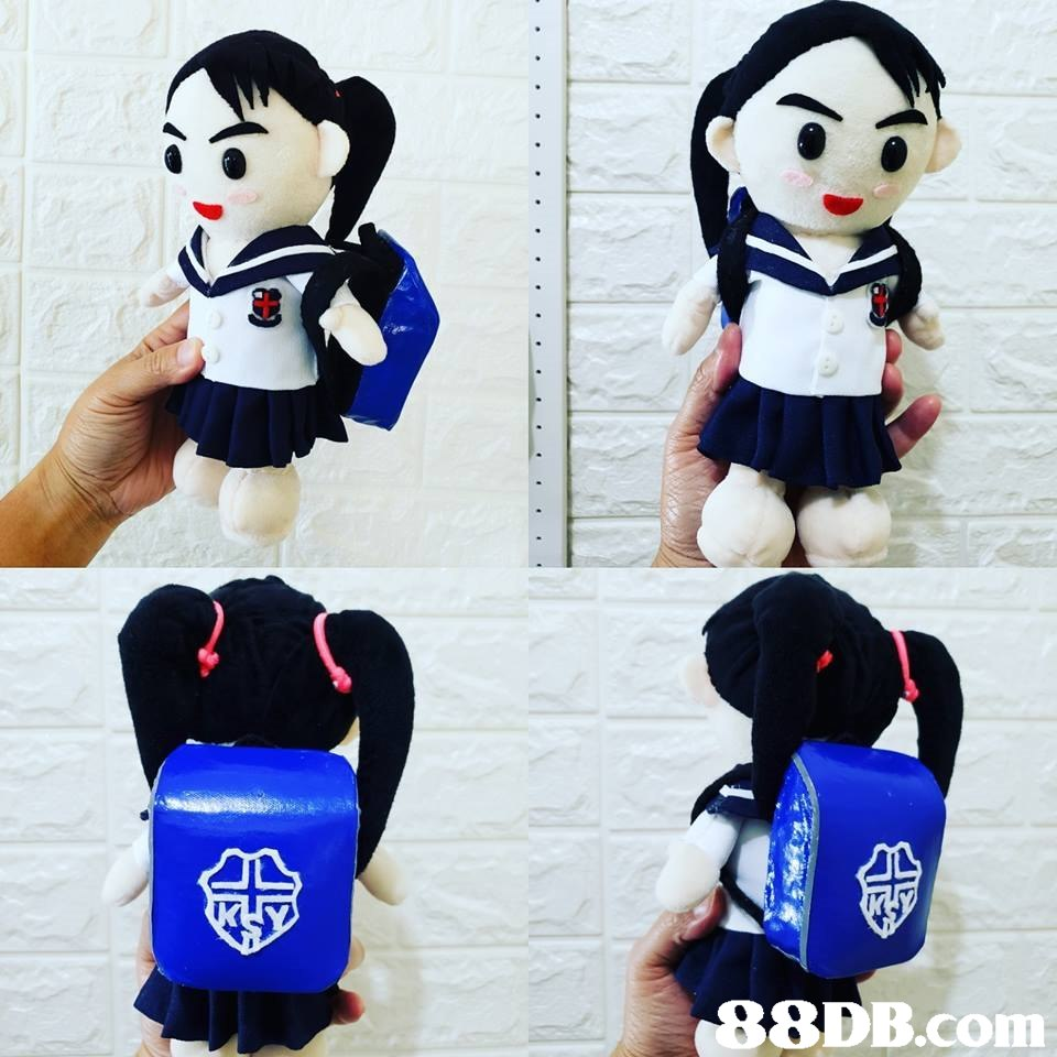8DB.conm,Cartoon,Plush,Black hair,Toy,Stuffed toy