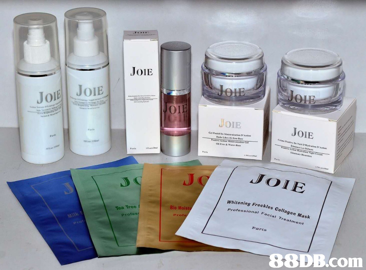 JoiE JoIE JOE οι Or JOIE JOIE Gel Positit De Moistruization D'Action Huile Libre Et Eau-Base Crème Positive De Nuit D'Rydration D'Action usitive rulvation Oil Free& Water-Base Paris Paris JOIE ning Freckles Collagen Mask nal Facial Treatment Bio Moisty Tea Tree profes Prof Paris   Product,Beauty,Material property,Skin care,
