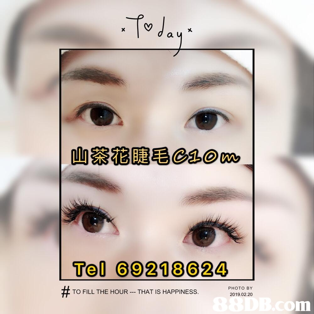 d a 山茶花睫毛esom Tel 69218624 PHOTO BY 2019.02.20 TO FILL THE HOUR - THAT IS HAPPINESS. om  Eyebrow,Eyelash,Eye,Face,Skin
