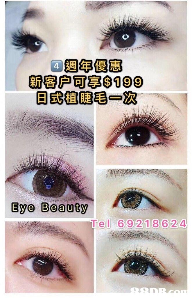 黑迴年便惠 新客户可字8199 日式植睫毛一次 4 Eye Beauty el 69218624  Eyebrow,Eyelash,Eye,Organ,Cosmetics