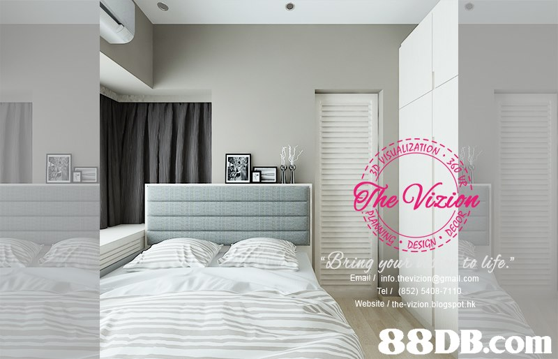 "DESIGN Email / info thevizion@gmal.com Website / the-vizion.blogspot.hk to life."" Tel / ( 852) 5408-711   Bedroom,White,Room,Bed,Furniture"
