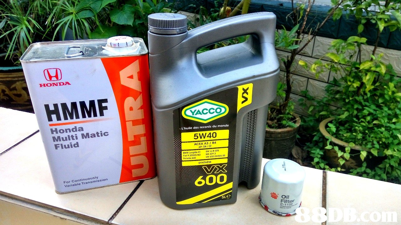HONDA HMMF YACCO Honda Multi Matic Fluid L'huile des records du monde 5W40 ACEA A3/ B4 API SN/CF Brevi Longlife-01 GM LL-B.025 Fial 9.55535-M2 M8 229.3 Persche A40 VW 502.CO 505,00 SYNTHESE For Continuously Variable Transmission 600 5Le Oil Filtter C-1132  Motor oil,