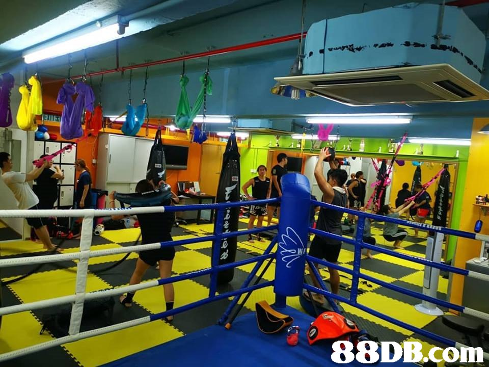 lie   Sport venue,Boxing ring,Boxing,Yellow,Room