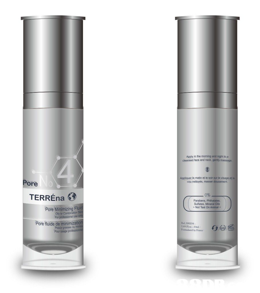 Apply in the morning and night to a cleansed face and neck, gently massage. Appliquer le matin et le soir sur le visage et le cou nettoyés, masser doucement. ore TERREna 0% Parabens, Phthalates Sulfates, Mineral Oils -Not Test On Animal- Pore Minimizing Flui Oily or Combination For ional use ore fluide de minimizatio Peaux grasses ou mite Ref. 900194 Pour usage  Product,Water,Material property,Skin care,Silver