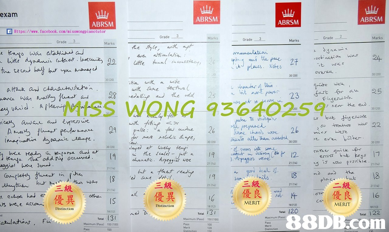 ull ABRSM exam ABRSM ABRSM ABRSM Https://www. facebook. com/misswongpianotutor Grade 3 Grade-2- Grade 3 Marks Marks Grade orsination wa 24 overa 30 120 30 120 23 st for au 25 MISS WONG 93640259 near the eo 30 120 r but ing eno so etuew22 201201 o atay Tham aunte 30 1201v 30 120) 30 120 he scales-jut a 21 (14 21 (14 21 114) 21 1141 hur 三級 級 21 114) 21 1141 21 (14) 優良mlt_優良 16 MERIT : 21 (14 ecloe has e s were accon MERIT Distinction 18 (12) 18 (12) 18 (12 Distinction 18 112 Total Totat 122 Total 8 8DB.com Maximum [Pass] Maximum (Passl Total 150 1100) Maximum (Pass) Pass 150 (100) Pass 100 120 Merit Distinction  Text,Font,