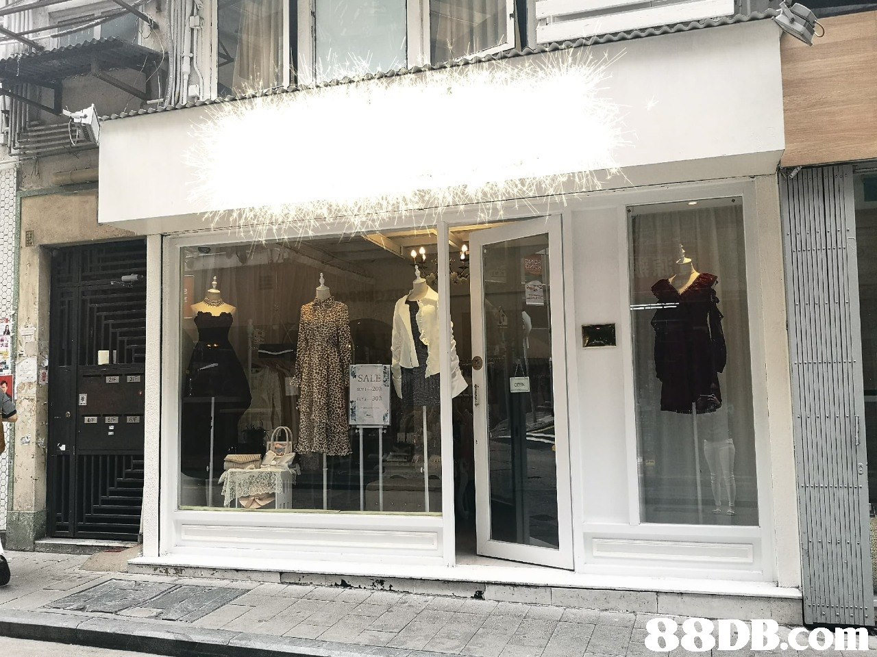SALE   Boutique,Building,Display window,Facade,Window