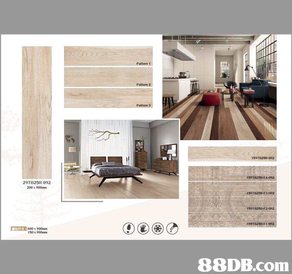 Pattern 1 Pattern 2 Pattern 3 159TB25R-092 159TB25R-F4-092 29TB25R-092 200 x 900mm 159TB25R-F3-092 159TB25R-F2-092 159TB25R-F1-092 ART:600 x 900mm 150 x 900mm   Product,Floor,Interior design,Property,Tile