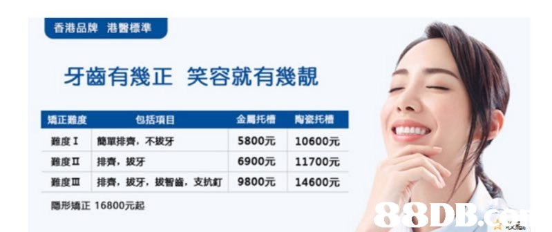 香港品牌 港醫標準 牙齒有幾正笑容就有幾靚 包括項目 矯正難度 難度1 簡單排齊,不拔牙 難度Ⅱ 排齊,拔牙 難度Ⅲ 排齊,拔牙,拔智齒, 隱形矯正16800元起 金屬托槽 5800元 6900元 9800元 陶瓷托槽 10600元 11700元 14600元 支抗釘 88DE  Face,Nose,Skin,Forehead,Chin