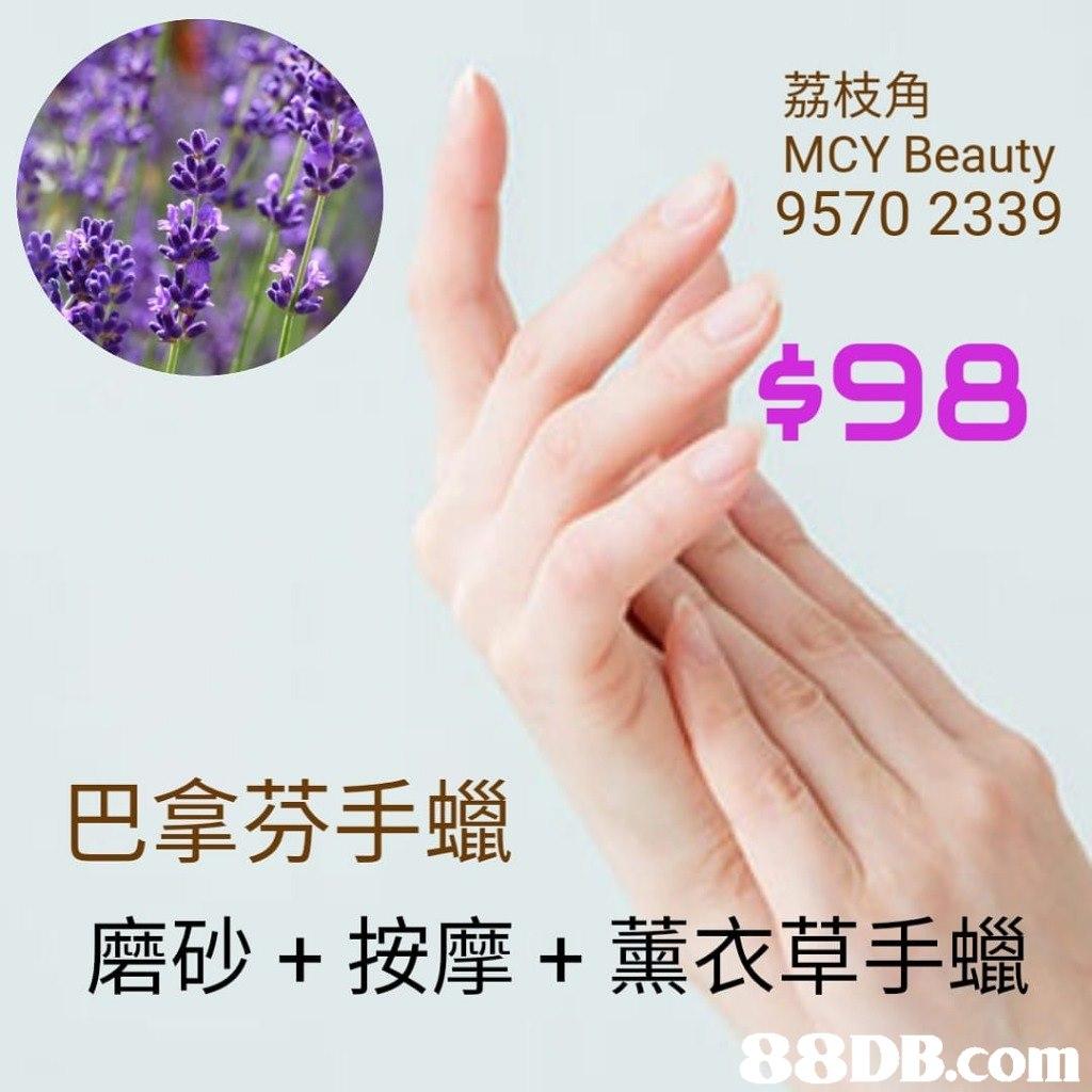 荔枝角 MCY Beauty 9570 2339 $98 巴拿芬手蠟 磨砂+按摩+薰衣草手蠟   Finger,Hand,Font,Thumb,Nail