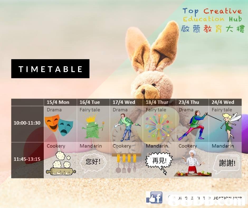 Top Creative Education Hub 啟蒙教育大樓 TIMETABLE 15/4 Mon 16/4 Tue 17/4 Wed 18/4 Thur 23/4 Thu24/4 Wed Drama Fairy tale Drama Fairy tale Drama Fairy tale 10:00-11:30 Cookery Mandarin Cookery Mandarin. Cookery UTTT 11:45-13:15 您好! 再見! 謝謝!  Rabbit,Rabbits and Hares