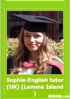 Sophie-English tutor (UK) (Lamma Island   Headgear,Photography,Graduation,Smile,Hat