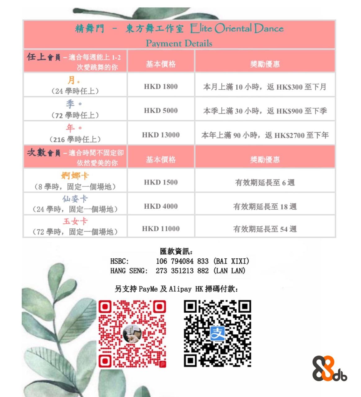 東方舞工作室Elite Oriental Dance 精舞門 - Payment Details 任上會員 適合每週能上1-2 奬勵優惠 本月上滿10小時,返HK$300至下月 本季上滿30小時,返HK$900至下季 基本價格 次愛跳舞的你 月 季 年 HKD 1800 (24學時任上) (72學時任上) (216學時任上) HKD 5000 本年上滿90小時, 返HK$2700至下年 HKD 13000 次數會員 適合時間不固定卻 依然愛美的你 奬勵優惠 有效期延長至6週 有效期延長至18週 有效期延長至54週 基本價格 婀娜卡 (8學時,固定一個場地) 仙姿卡 (24學時,固定一個場地) 玉女卡 (72學時,固定一個場地) HKD 1500 HKD 4000 HKD 11000 匯款資訊 HANG SENG: 273 351213 882 (LAN LAN) 另支持PayMe及Alipay HK掃碼付款: 106 794084 833 (BAI XIXI) HSBC: db,Text,Font,Line,