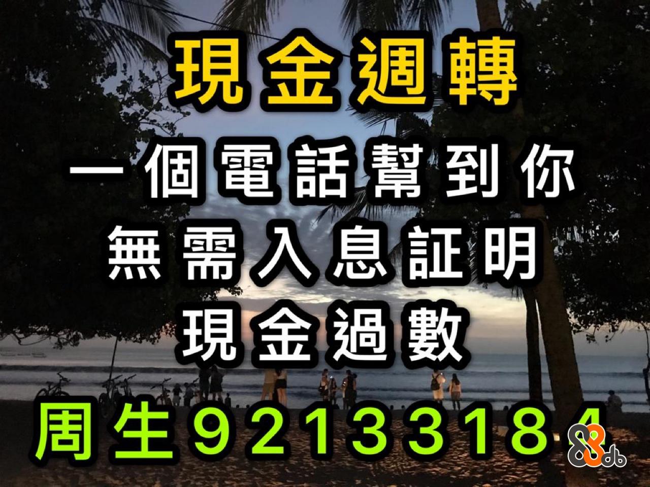現金週轉 無需 息証明 現金過數 周生921 33184 .  Font,Text,Sky,Tree,Photography