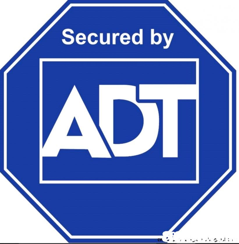 Secured by ADT  Signage,Electric blue,Line,Font,Logo