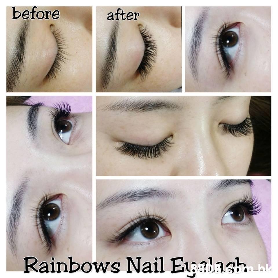 before after Rainbows Nail Ealash  Eyebrow,Eyelash,Eye,Skin,Cosmetics