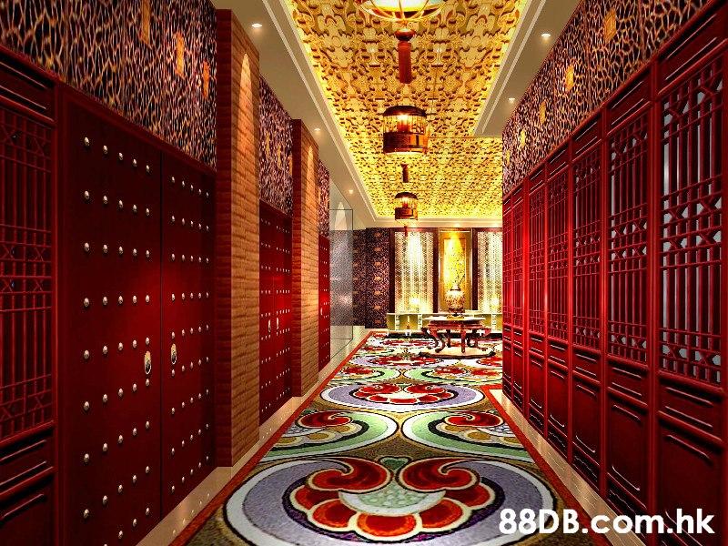 .hk  Red,Ceiling,Interior design,Room,Architecture
