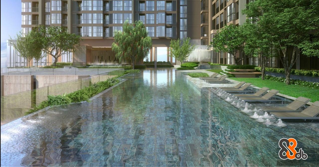 Water,Condominium,Building,Reflecting pool,Property