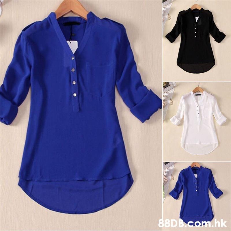 88D B.com.hk  Clothing,Sleeve,Blue,Collar,Blouse