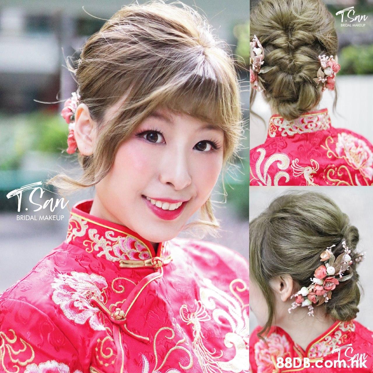1San BRIDAL MAKEUP 1Sn BRIDAL MAKEUP 88DB.Com.hK  Hair,Hairstyle,Head,Chignon,Chin