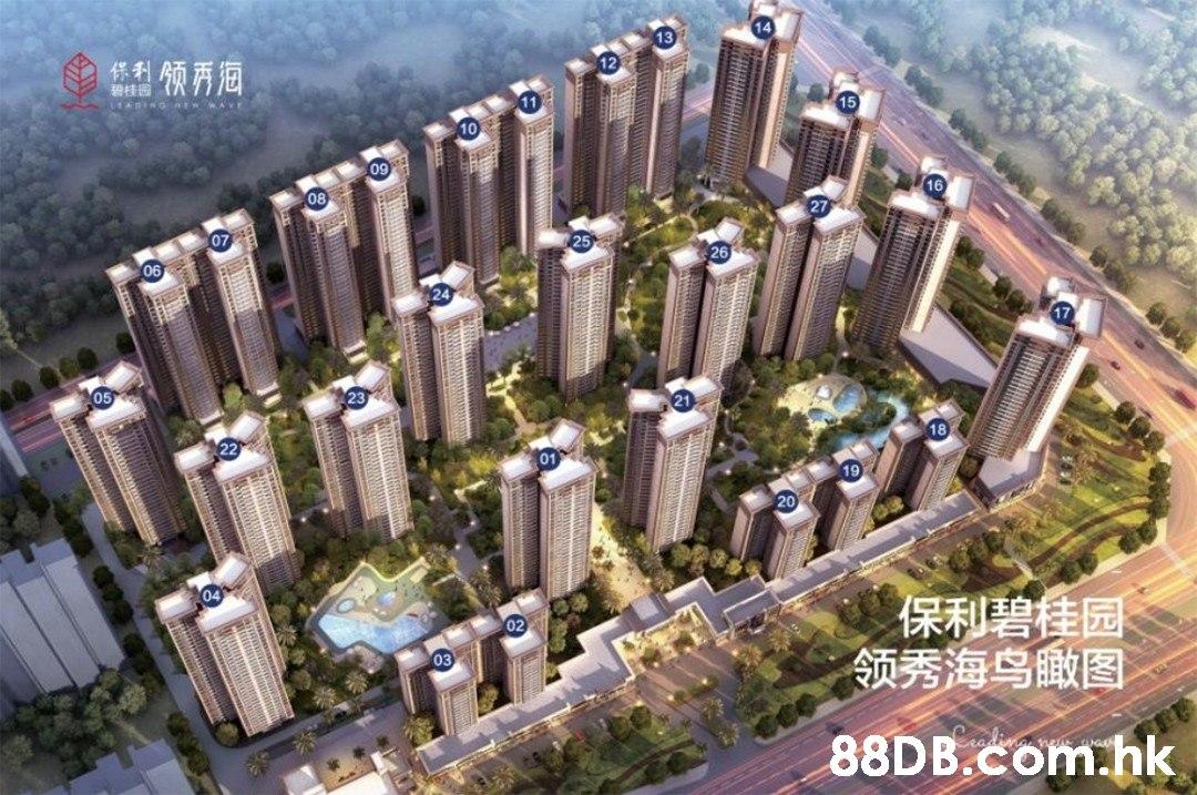 AVE 11 15 10 09 16 26 04 保利碧佳园 领秀海鸟瞰图 03 .hk  Residential area,Bird's-eye view,Landmark,Urban design,Human settlement