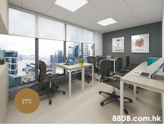 SKYTALL 海景特色 辦公室 .hk  Office,Building,Office chair,Interior design,Property