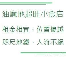 油麻地 超旺小食店 租金相宜、位置優越 咫尺地鐵、人流不絕 IL  Text,Green,Font,Line