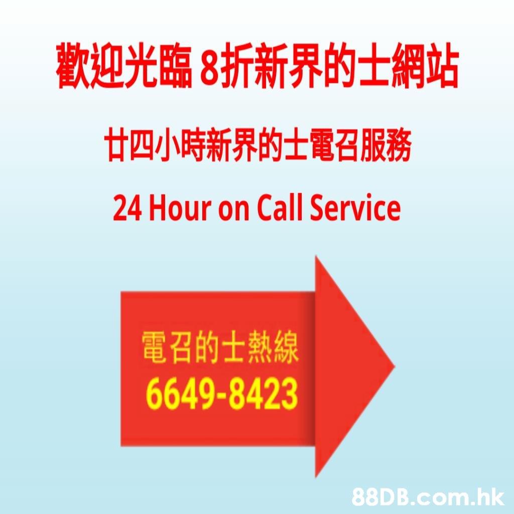 歡迎光臨8折新界的士網站 廿四小時新界的士電召服務 24 Hour on Call Service 電召的士熱線 6649-8423 .hk  Text,Font,Line,