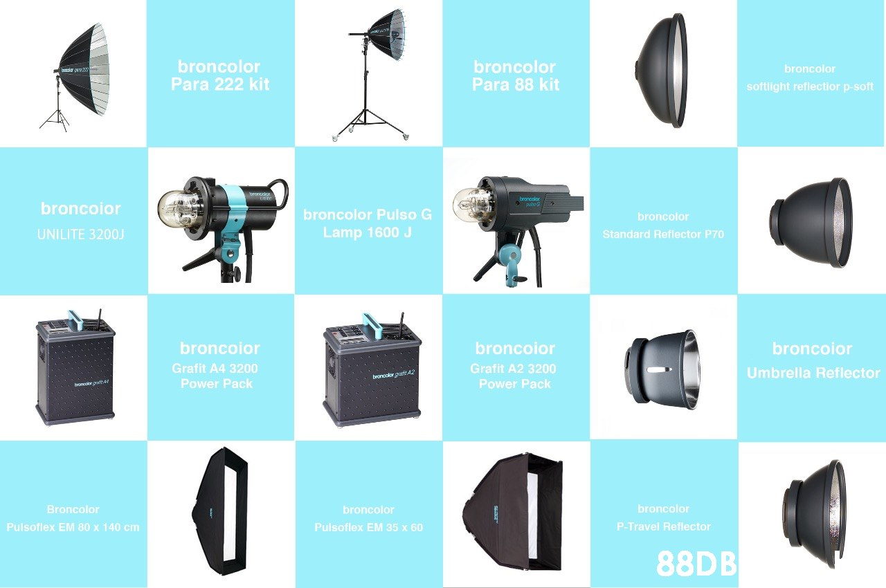 broncolor Para 88 kit broncolor Para 222 kit broncolor softlight reflectior p-soft broncoior broncolor Pulso G broncolor Lamp 1600 J UNILITE 320O Standard Reflector P70 broncoior broncoior broncoior Grafit A4 3200 Grafit A2 3200 Umbrella Reflector broneolor grafe A2 Power Pack Power Pack broncolor Broncolor broncolor P-Travel Reflector Pulsoflex EM 35 x 60 Pulsoflex EM 80 x 140 cm 88DB  Product,Font,Output device,