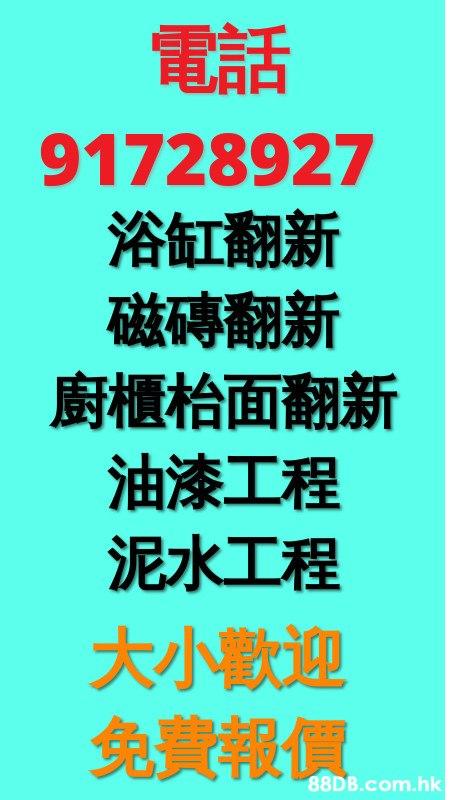 電話 91728927 浴缸翻新 磁磚翻新 廚櫃枱面翻新 油漆工程 泥水工程 大小歡迎 免費報價 .hk  Text,Font